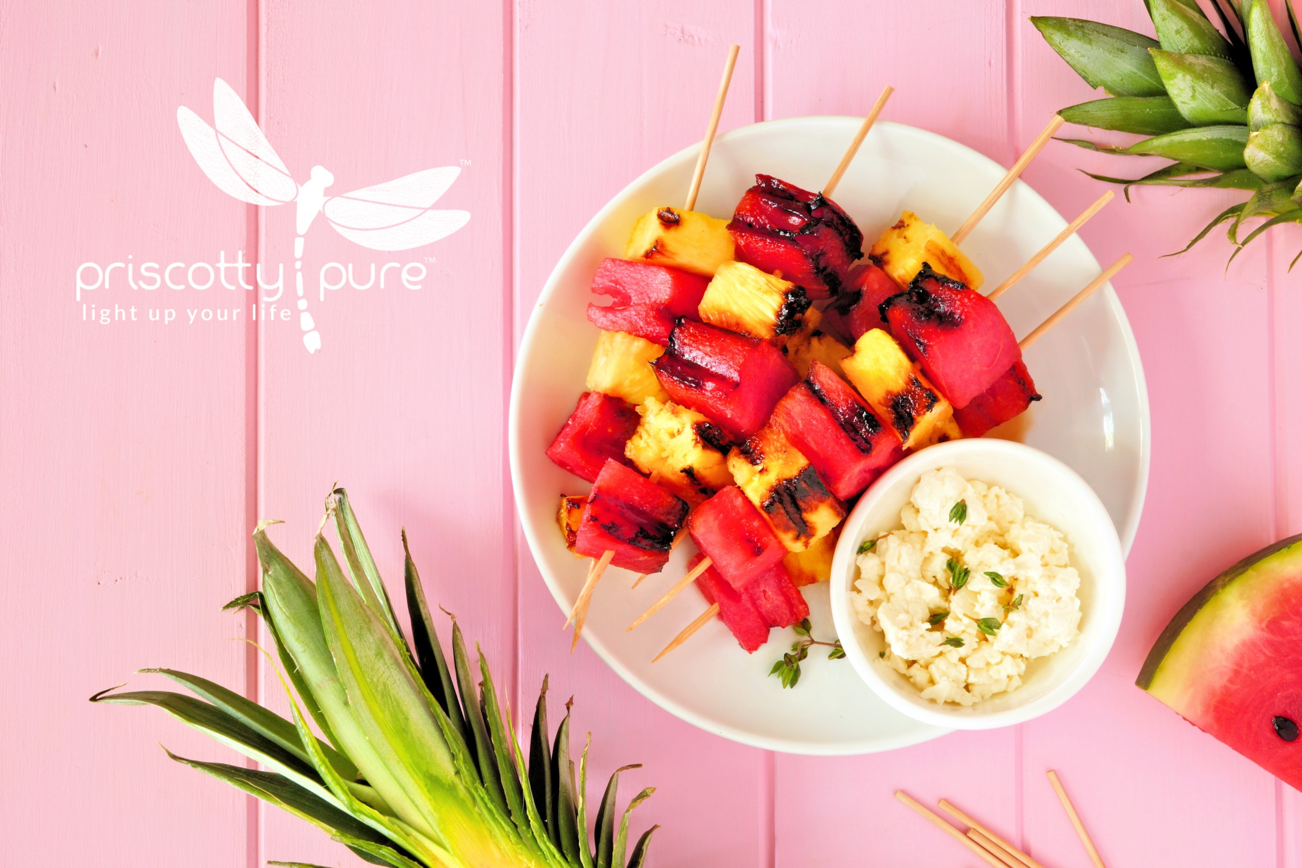 Grilled Watermelon and Pineapple Skewers With Feta Dip Recipe